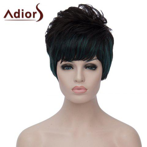 Best Stylish Green Highlight Side Bang Capless Bouffant Natural Wave Short Synthetic Wig For Women BLACK/GREEN