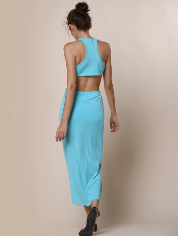 Fancy Slit Crop Racerback Two Piece Club Dress - S LAKE BLUE Mobile