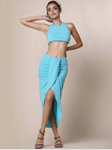Unique Slit Crop Racerback Two Piece Club Dress - S LAKE BLUE Mobile