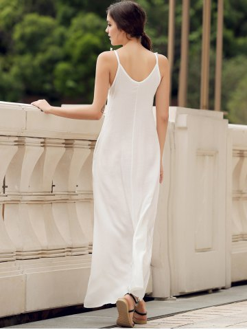 Chic Spaghetti Strap Pockets Long Casual Maxi Beach Dress - S WHITE Mobile