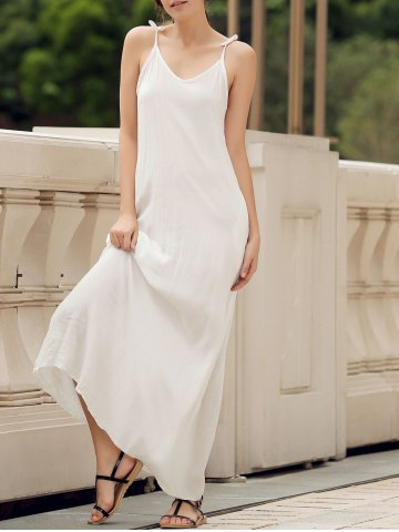 Trendy Spaghetti Strap Pockets Long Casual Maxi Beach Dress - S WHITE Mobile