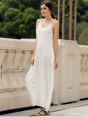Shops Spaghetti Strap Pockets Long Casual Maxi Beach Dress - S WHITE Mobile