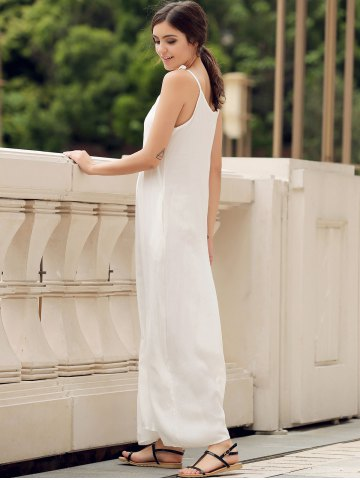 Sale Spaghetti Strap Pockets Long Casual Maxi Beach Dress - S WHITE Mobile