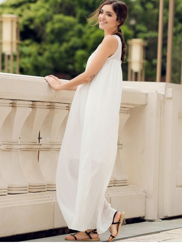 Sale Lace Panel Summer Chiffon Long Swing Dress - L WHITE Mobile