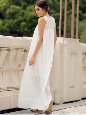 Chic Lace Panel Summer Chiffon Long Swing Dress - L WHITE Mobile