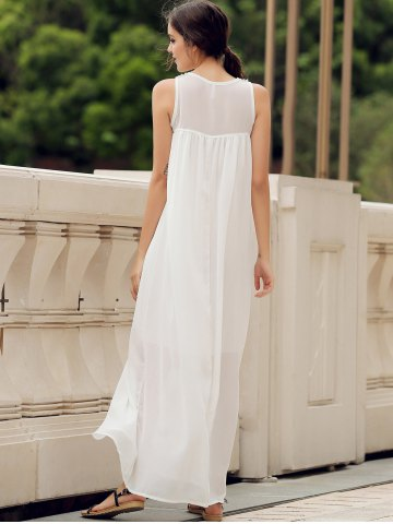 Trendy Lace Panel Summer Chiffon Long Swing Dress - L WHITE Mobile