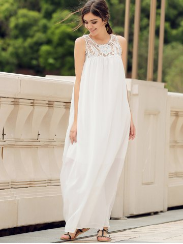 Shops Lace Panel Summer Chiffon Long Swing Dress - L WHITE Mobile