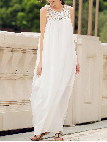 Best Lace Panel Summer Chiffon Long Swing Dress - L WHITE Mobile