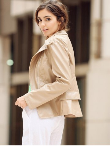 Affordable Fashionable Turn-Down Collar Zippered Long Sleeve PU Leather Jacket For Women KHAKI M