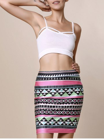 Retro Style Geometric Printed Bodycon Skirt For Women - COLORMIX S