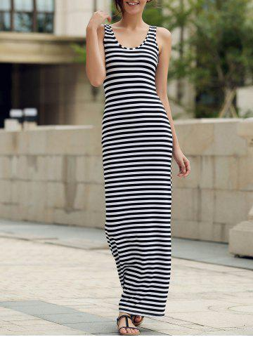 Maxi Stripe Backless Prom Dress - STRIPE S