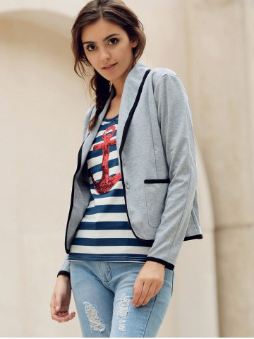 Outfits Elegant Shawl Collar Color Splicing Long Sleeve Blazer For Women - S GRAY Mobile