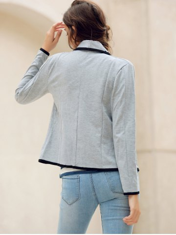 Buy Elegant Shawl Collar Color Splicing Long Sleeve Blazer For Women - M GRAY Mobile