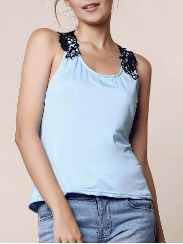 Shops Trendy Style Scoop Neck Lace Splicing Backless Tank Top For Women - XL BLUE Mobile