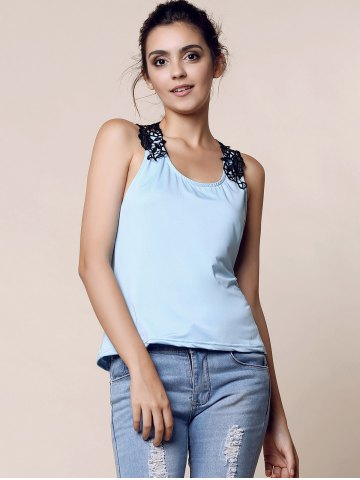 Outfit Trendy Style Scoop Neck Lace Splicing Backless Tank Top For Women - XL BLUE Mobile
