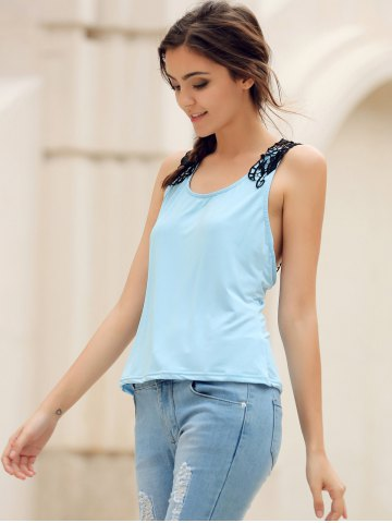Discount Trendy Style Scoop Neck Lace Splicing Backless Tank Top For Women - XL BLUE Mobile