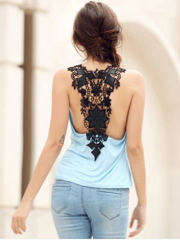 Buy Trendy Style Scoop Neck Lace Splicing Backless Tank Top For Women - XL BLUE Mobile