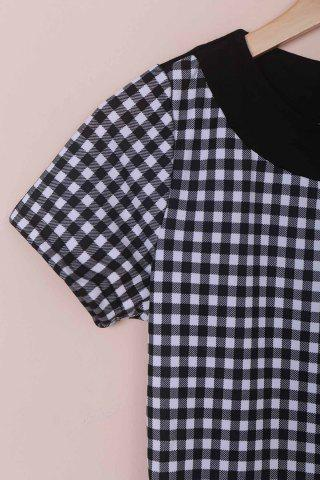 Discount Stylish Scoop Neck Short Sleeve Plaid Bodycon Dress For Women - M BLACK Mobile
