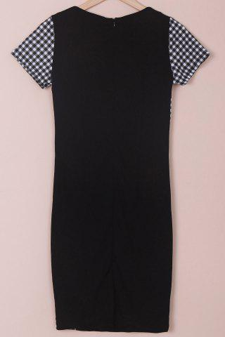 Chic Stylish Scoop Neck Short Sleeve Plaid Bodycon Dress For Women - M BLACK Mobile