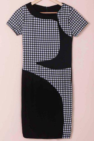 Unique Stylish Scoop Neck Short Sleeve Plaid Bodycon Dress For Women - M BLACK Mobile