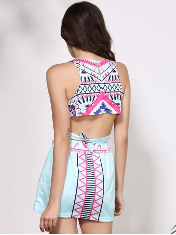 Discount Crop Sleeveless Print Short Club Two Piece Dress - L COLORMIX Mobile