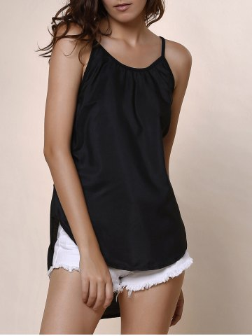 Shops High Low Rounded Hem Cami Tank Top - M BLACK Mobile