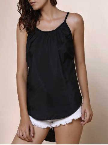 Trendy High Low Rounded Hem Cami Tank Top - M BLACK Mobile