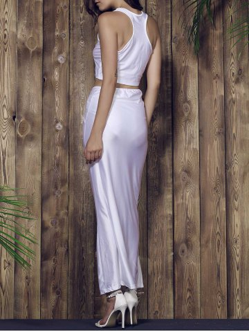 Hot Racerback Crop Top and Long Skirt Set - S WHITE Mobile