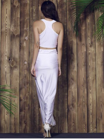 Best Racerback Crop Top and Long Skirt Set - L WHITE Mobile