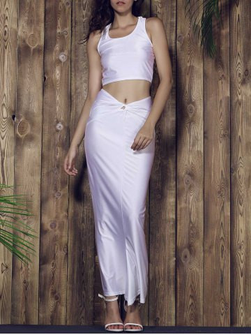 Discount Racerback Crop Top and Long Skirt Set - L WHITE Mobile