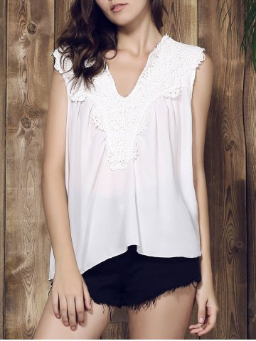 Stylish U-Neck Sleeveless Hollow Out Solid Color Women's Blouse - White - Xl