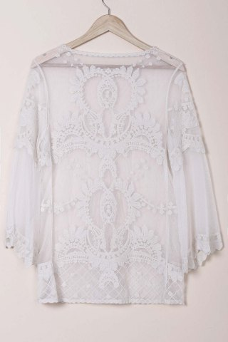 Affordable Sheer Lace Cover Up Top - ONE SIZE(FIT SIZE XS TO M) WHITE Mobile