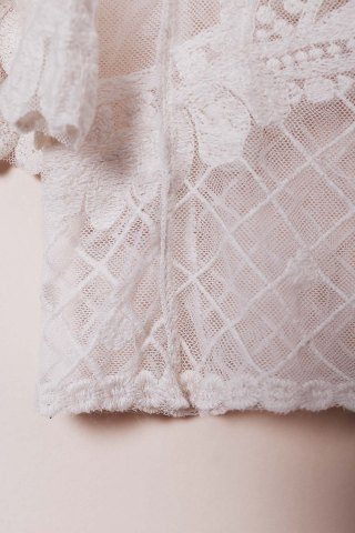 Cheap Sheer Lace Cover Up Top - ONE SIZE(FIT SIZE XS TO M) WHITE Mobile