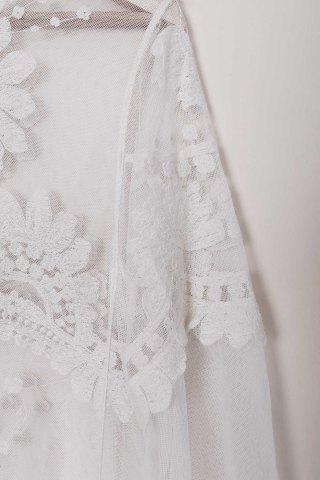 Best Sheer Lace Cover Up Top - ONE SIZE(FIT SIZE XS TO M) WHITE Mobile