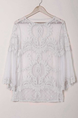 Latest Sheer Lace Cover Up Top - ONE SIZE(FIT SIZE XS TO M) WHITE Mobile