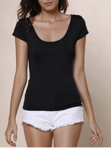 Sexy Scoop Neck Solid Color Backless Lace Spliced Strappy T-Shirt For Women - Black - L