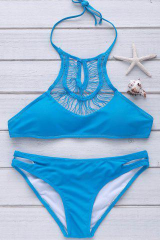 Sexy Halter Solid Color Hollow Out Bikini Set For Women - Blue - S