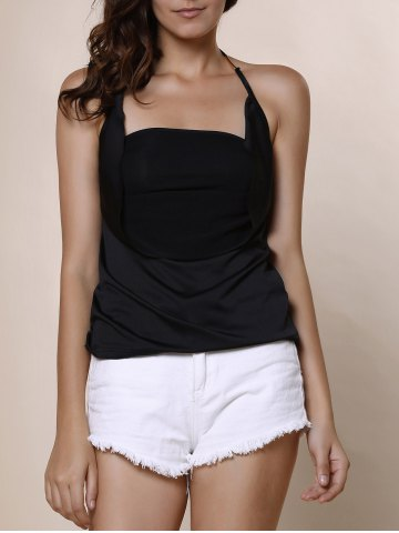 Unique Solid Color Backless Draped Sleeveless Blouse BLACK S