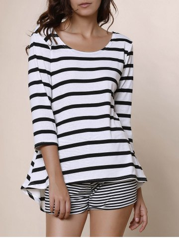 Unique Simple Style Scoop Neck Striped 3/4 Sleeve Blouse For Women WHITE/BLACK S