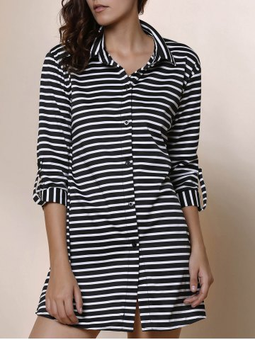 Chic Simple Polo Collar Striped Long Sleeve Blouse For Women