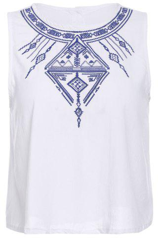 Embroidered Button Design Tank Top