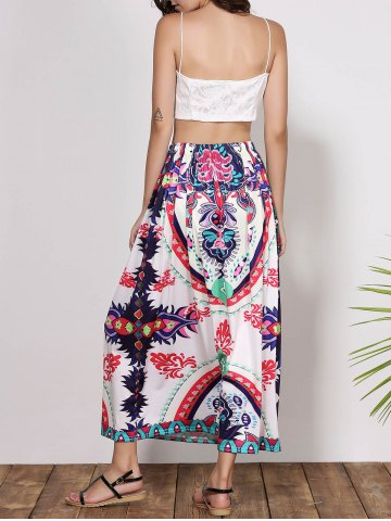 Best Bohemian Mid-Waisted Printed Waist Drawstring Women's Maxi Skirt - M COLORMIX Mobile