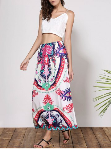 Unique Bohemian Mid-Waisted Printed Waist Drawstring Women's Maxi Skirt - M COLORMIX Mobile