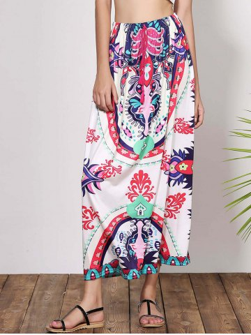 Shop Bohemian Mid-Waisted Printed Waist Drawstring Women's Maxi Skirt - L COLORMIX Mobile