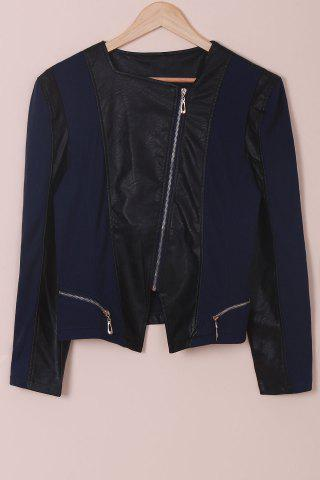Trendy Chic Faux Leather Zipper Long Sleeve Jacket For Women BLUE AND BLACK XL