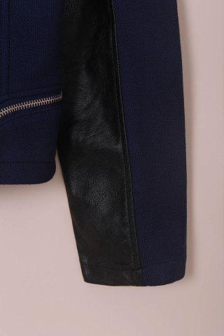 New Chic Faux Leather Zipper Long Sleeve Jacket For Women - 3XL BLUE AND BLACK Mobile