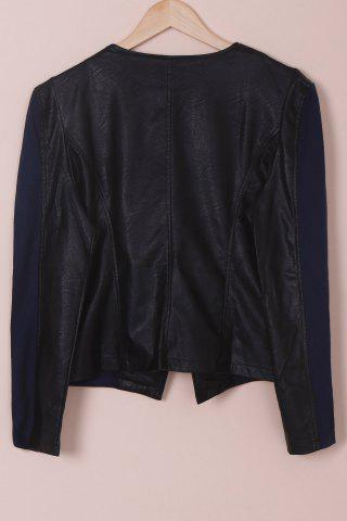 Fashion Chic Faux Leather Zipper Long Sleeve Jacket For Women - 3XL BLUE AND BLACK Mobile