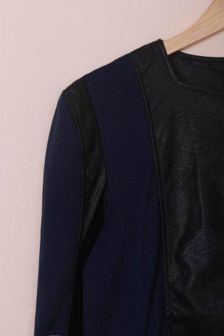 Shops Chic Faux Leather Zipper Long Sleeve Jacket For Women - 3XL BLUE AND BLACK Mobile
