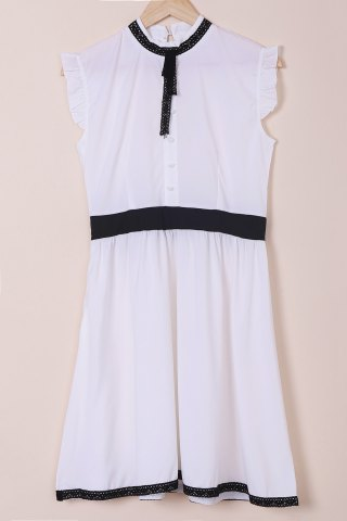 Latest Vintage Stand Collar Lace-Up Ruched Button Design Slimming Dress For Women WHITE S