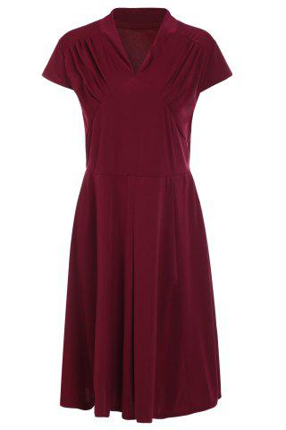Retro Style V-Neck Wine Red 1940s Swing Dress - Wine Red - L